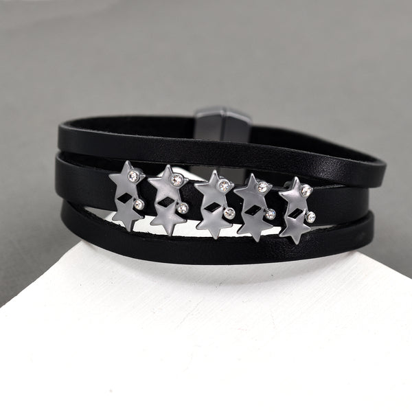 Multi star cuff bracelet with magnetic clasp