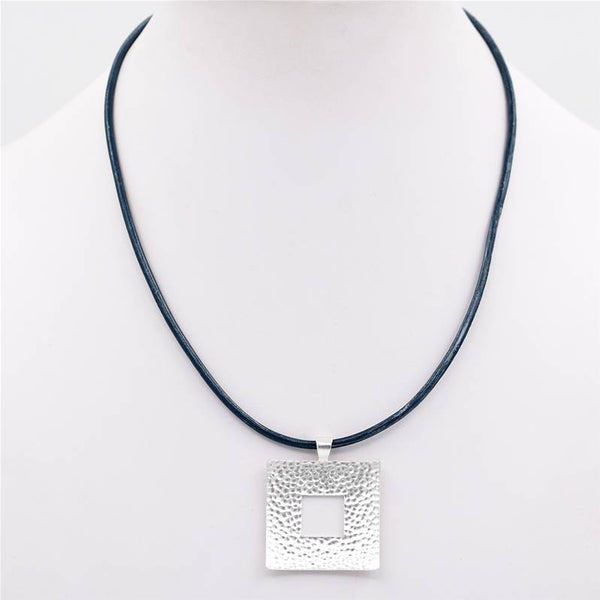 Feature square pendant on simple leather necklace
