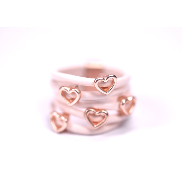 Little open hearts on multi strand leather ring