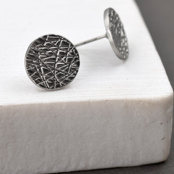 Scratched disc stud earrings
