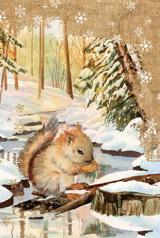 Snowy Squirrel 28x40 - Islander Flags of Kitty Hawk, Inc.