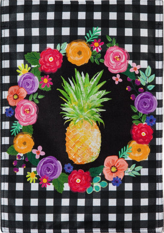Pineapple Plaid Floral Garden Flag