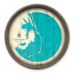 Outer Banks Vintage Map Barrel End