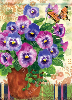 Pretty Pansies 28x40 - Islander Flags of Kitty Hawk, Inc.