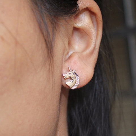 Gold/Silver Tone Unicorn Stud Earrings-Unicorns Wonderland