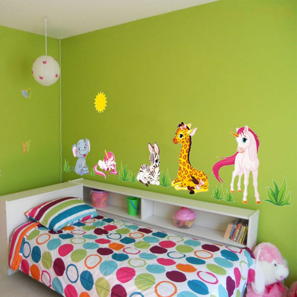 Diy Cartoon Wall Stickers Unicorn Home Decor Kids Room Art Decals-Unicorns Wonderland