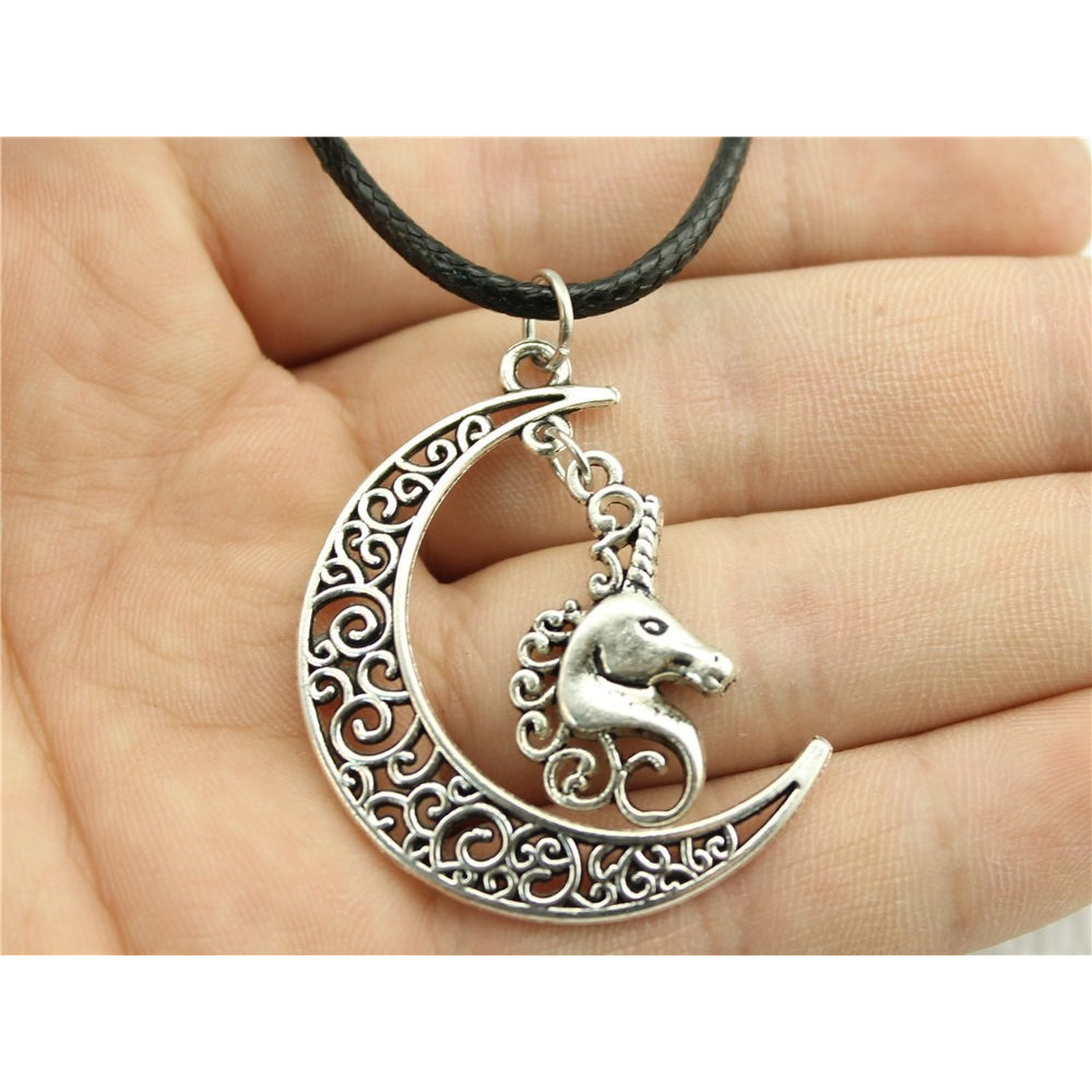 Crescent Moon and Unicorn Leather Necklace