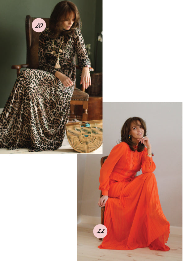 ong leopard and orange dress, lang leopard og orange kjole
