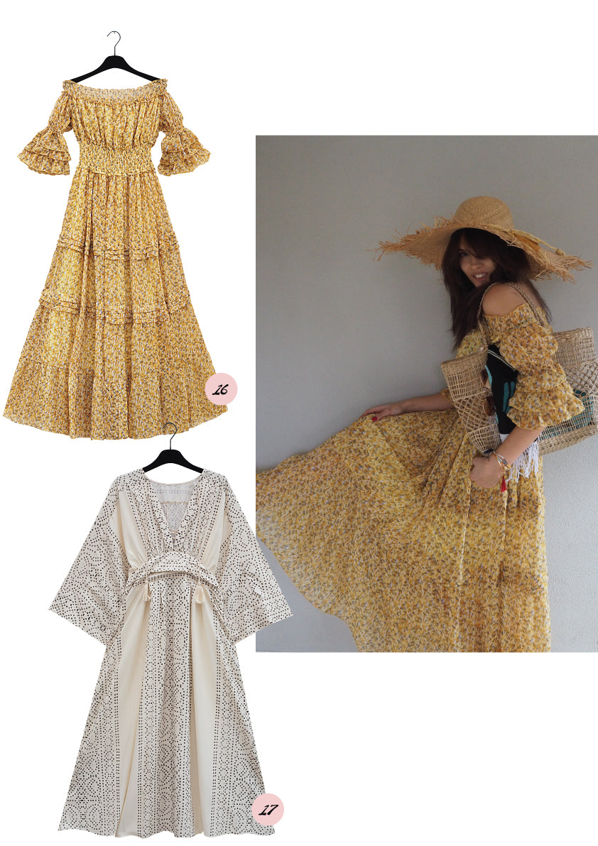 Long yellow and white summer dresses