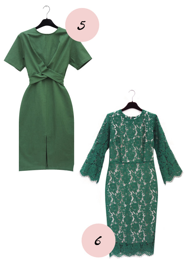Green cocktail an d lace dress, grøn kontor og blonde kjoler