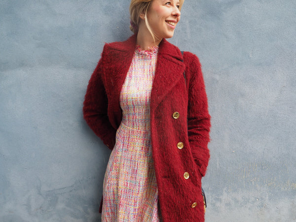 Matilde passer showing tweed dress caty on blog