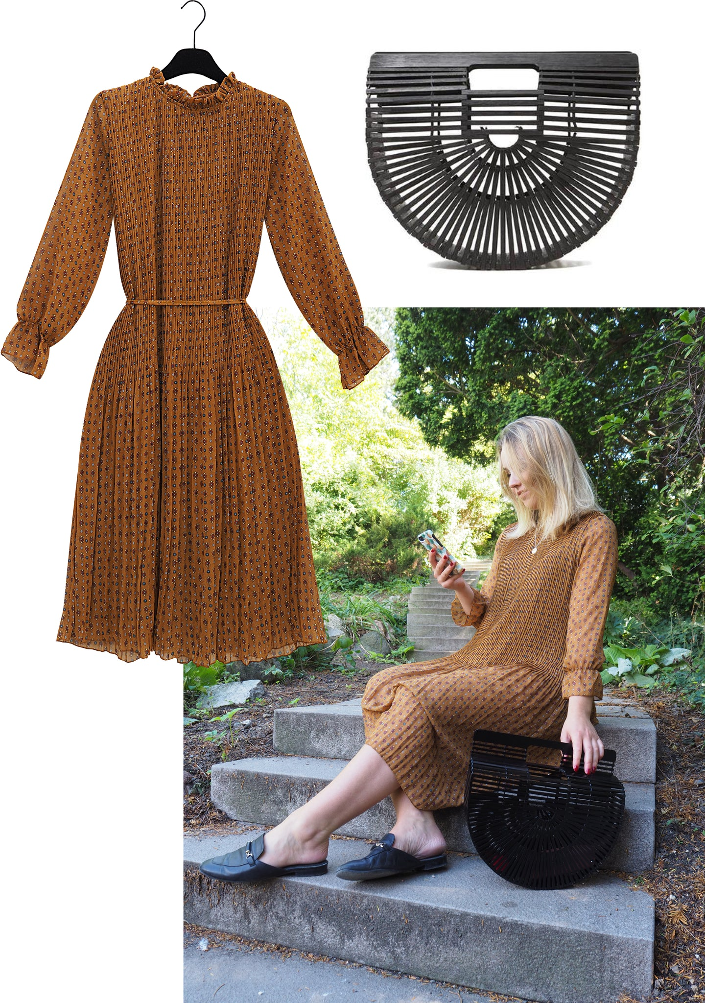 Rebekka Gustavson blogger ind maem boutique chiffon dress and bamboo bag