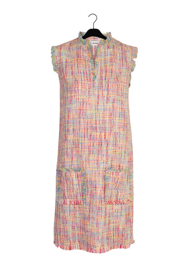 simple silhouette pink tweed dress