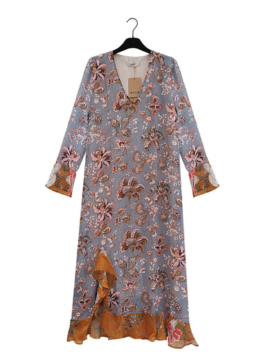 Long grey flower printet maxidress with terracotta coloured ruffle details