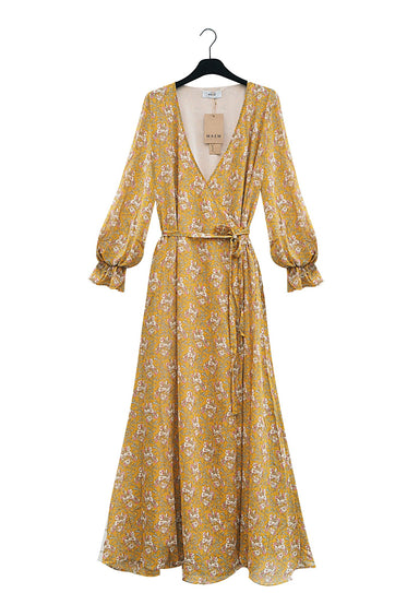 Long yellow floral wrap dress