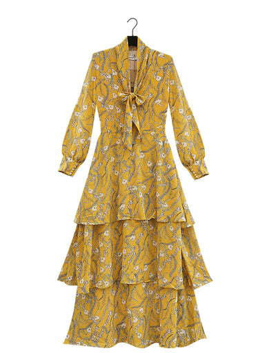long yellow flower printet ruffle chiffon dress with long sleeve