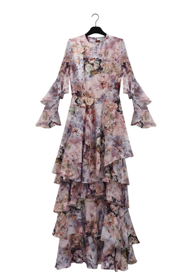 Rose print long cotton ruffle gown