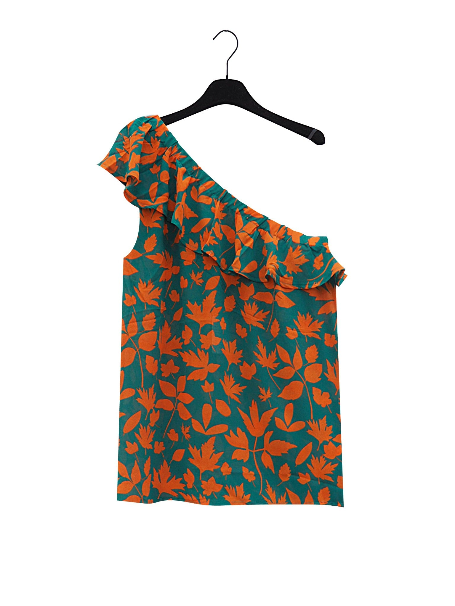 MAEM Blouse MAILA Grass Green and Earth Orange Flower one-shoulder top