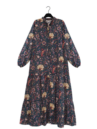 MAEM Long Dress VITTA Long Dark Green Flower Print Maxi Dress
