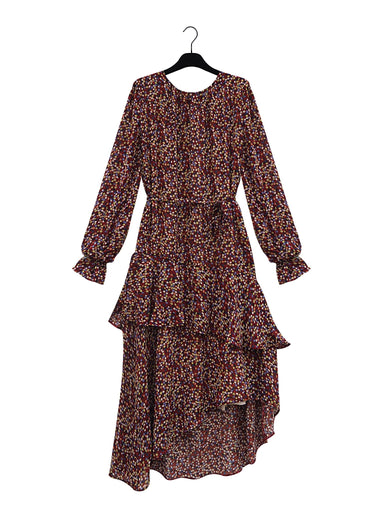 MAEM Midi Dress ELIZABETH Long Bordeaux Flower Print Ruffle Dress