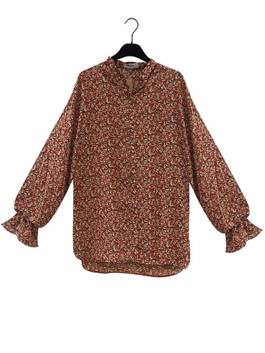 MAEM Shirt OZ / Terracotta / Mix NANNA Terracotta Colored Flower Print Oversized Shirt