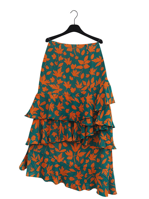 MAEM Skirt NURAN Grass Green and Earth Orange Flower Long Ruffle Skirt