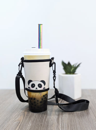 Pablo the Panda Bubble Tea Holder + Stainless Steel Straw Combo - The Lab