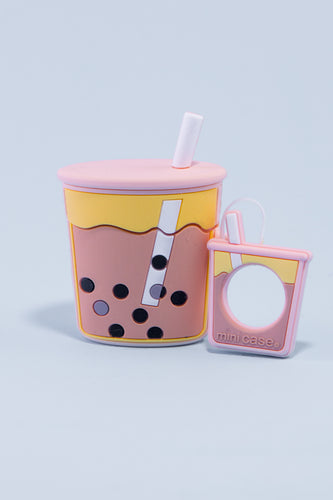 Pocket Bubble Tea Airpod Case (Peachy Pink)