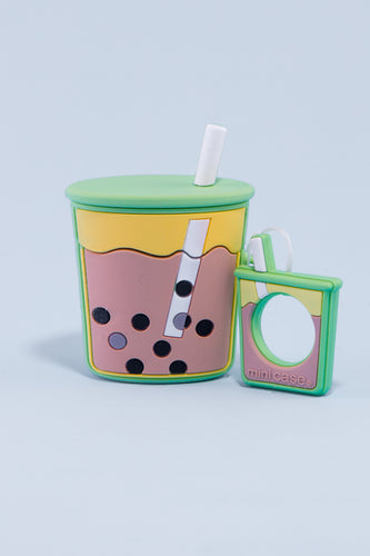 Pocket Bubble Tea Airpods Case (Matcha Green)