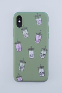 It's Raining Bubble Tea Phone Case (Milk Tea Brown)