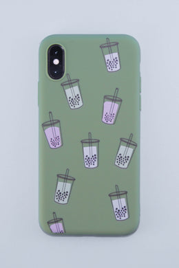 It's Raining Bubble Tea Phone Case (Matcha Green)