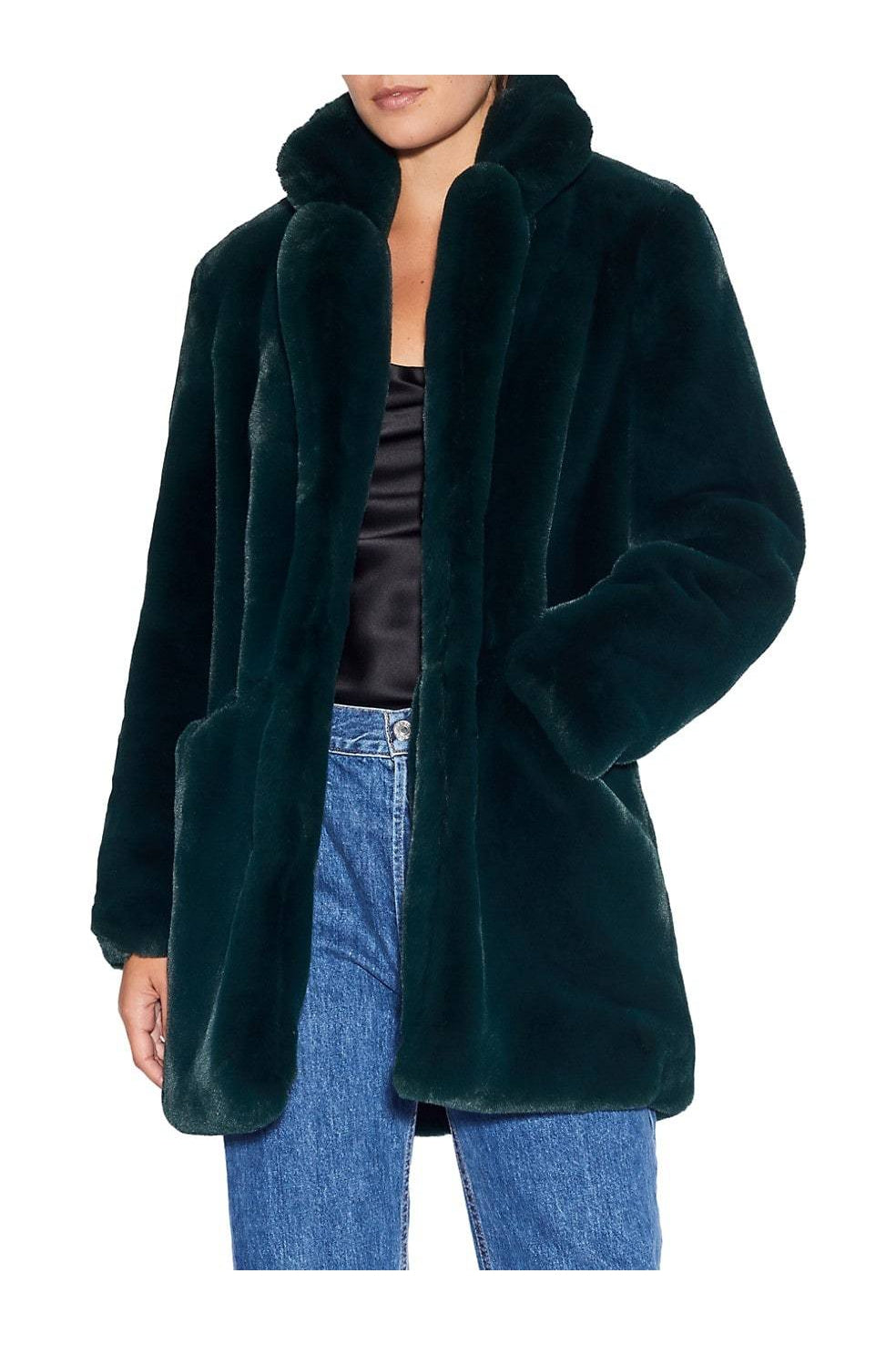 APPARIS SOPHIE FAUX FUR JACKET IN EMERALD