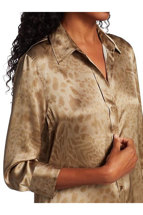 L'AGENCE DANI 3/4 BLOUSE IN TAUPE TONAL ANIMAL