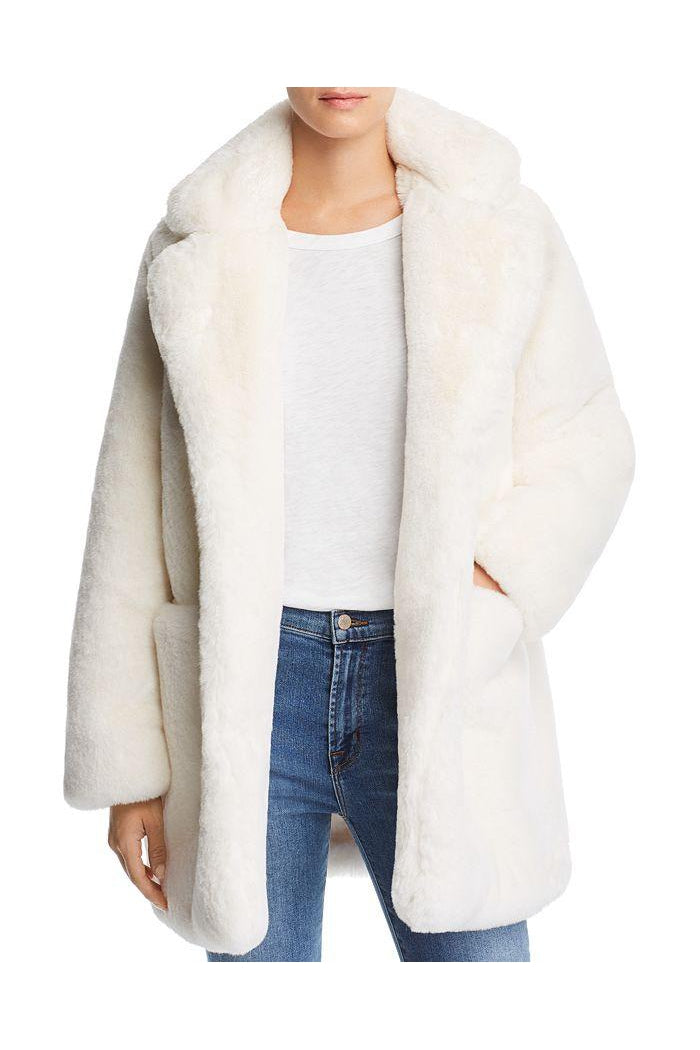 APPARIS SOPHIE FAUX FUR JACKET IN IVORY