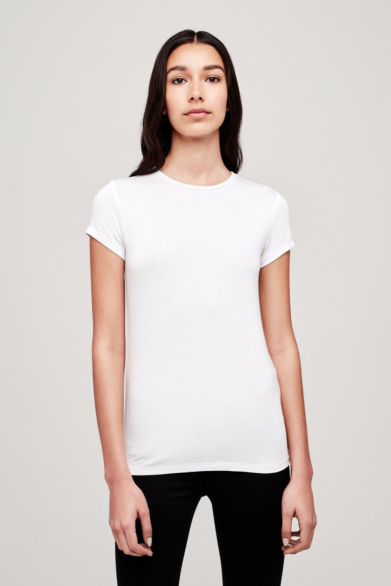 L'AGENCE RESSI CREW NECK TEE IN WHITE
