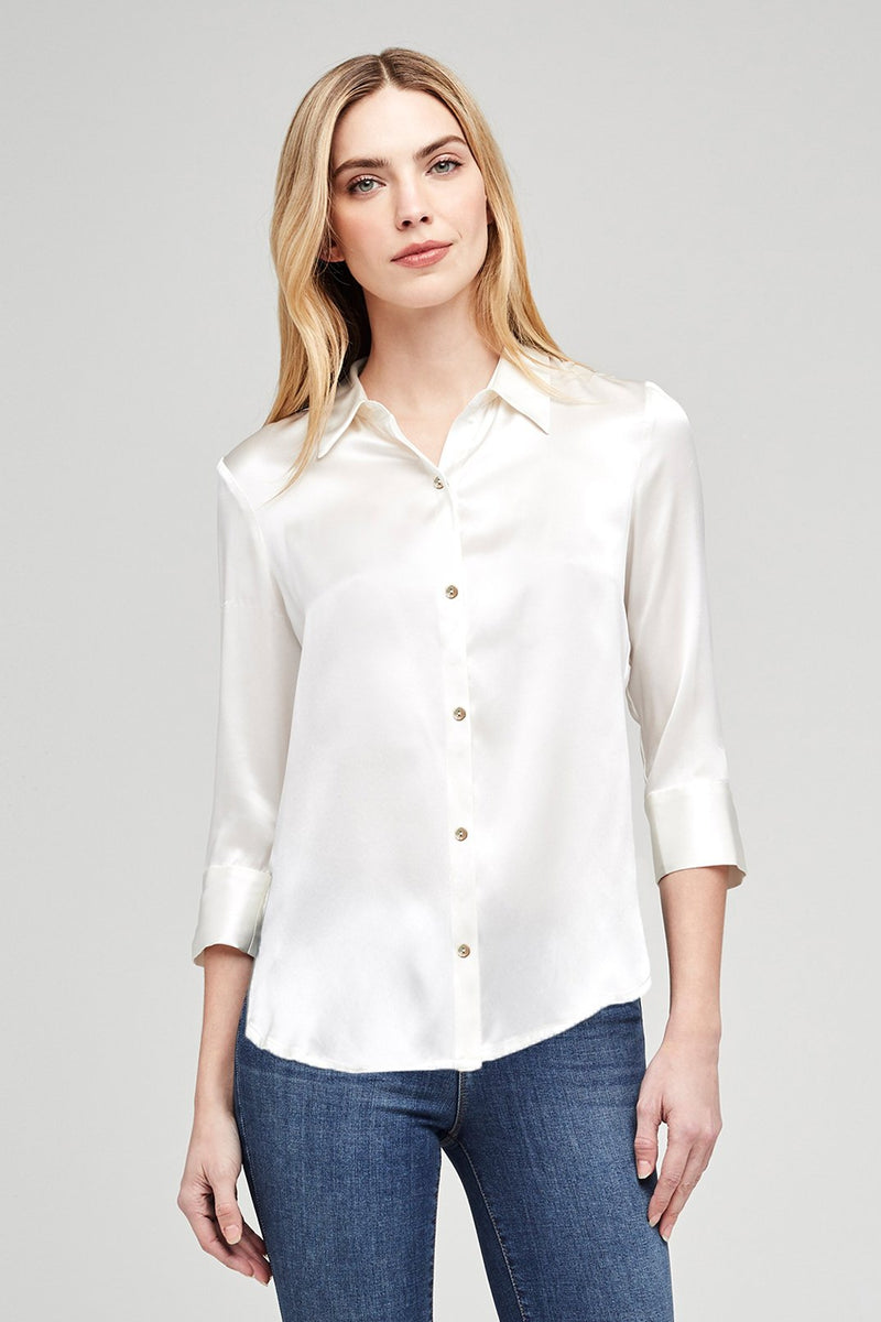 L'AGENCE DANI 3/4 BLOUSE IN IVORY