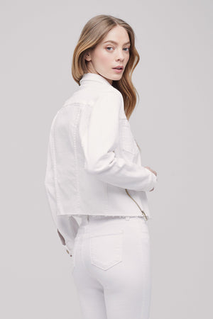 L'AGENCE JAMIE DOUBLE ZIP DENIM JACKET IN BLANC