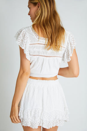 LOVESHACKFANCY TOYA SKIRT IN WHITE