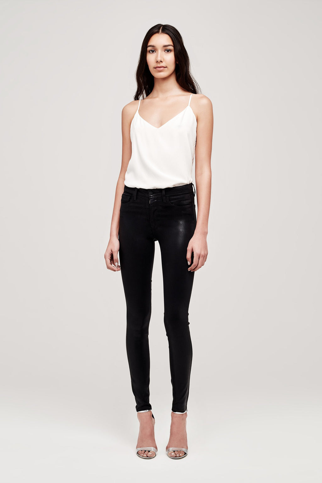 L'AGENCE MARGUERITE COATED HIGH RISE SKINNY IN BLACK
