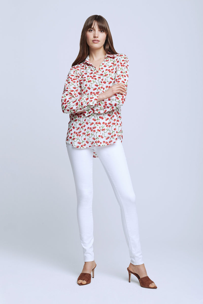 L'AGENCE NINA LONG SLEEVE BLOUSE IN IVORY/ RED CHERRY