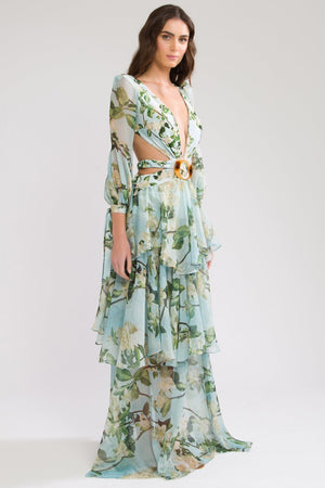 PATBO FLORAL LONG SLEEVE BEACH DRESS IN SKY
