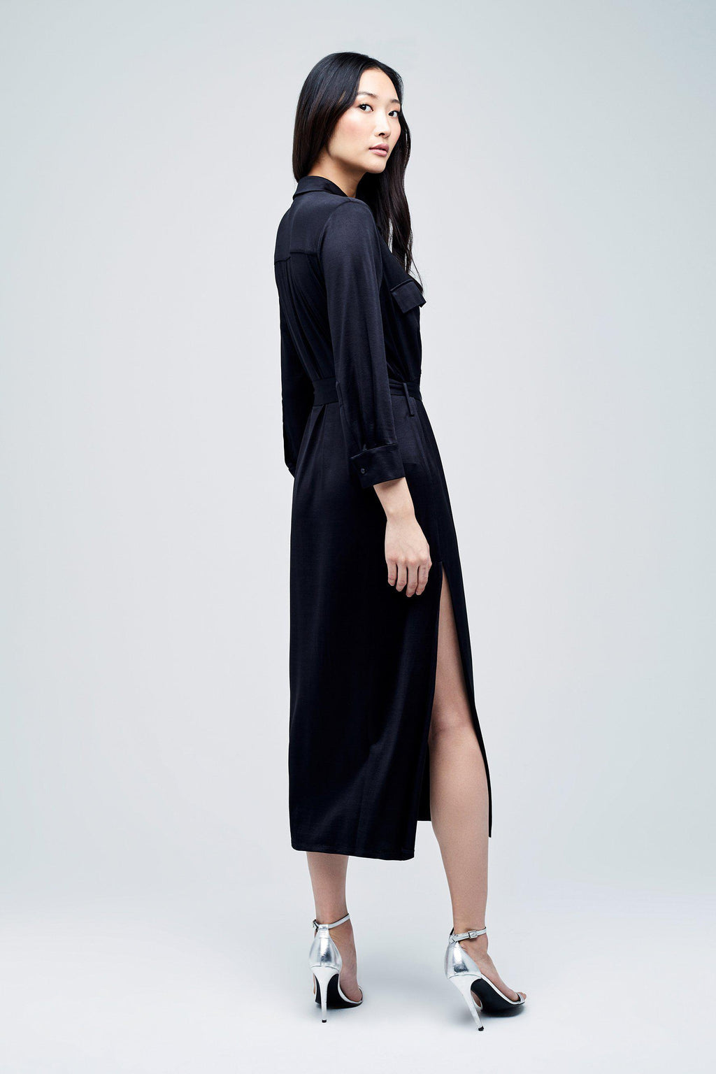 L'AGENCE RIVI LONG SHIRT DRESS IN BLACK