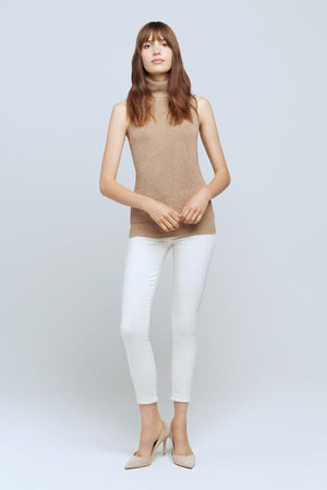 L'AGENCE SABRINA SLEEVELESS TURTLENECK IN BISCOTTI