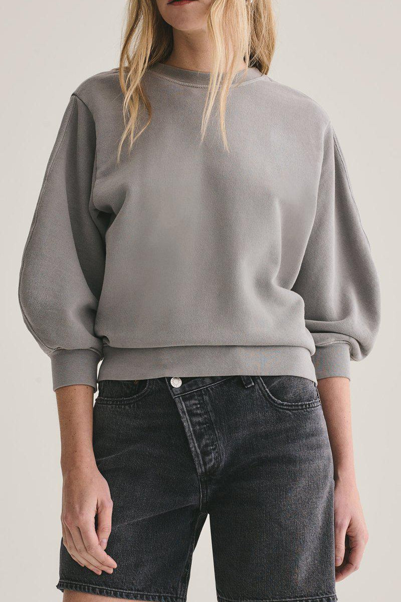AGOLDE THORA 3/4 SWEATSHIRT IN ZINC