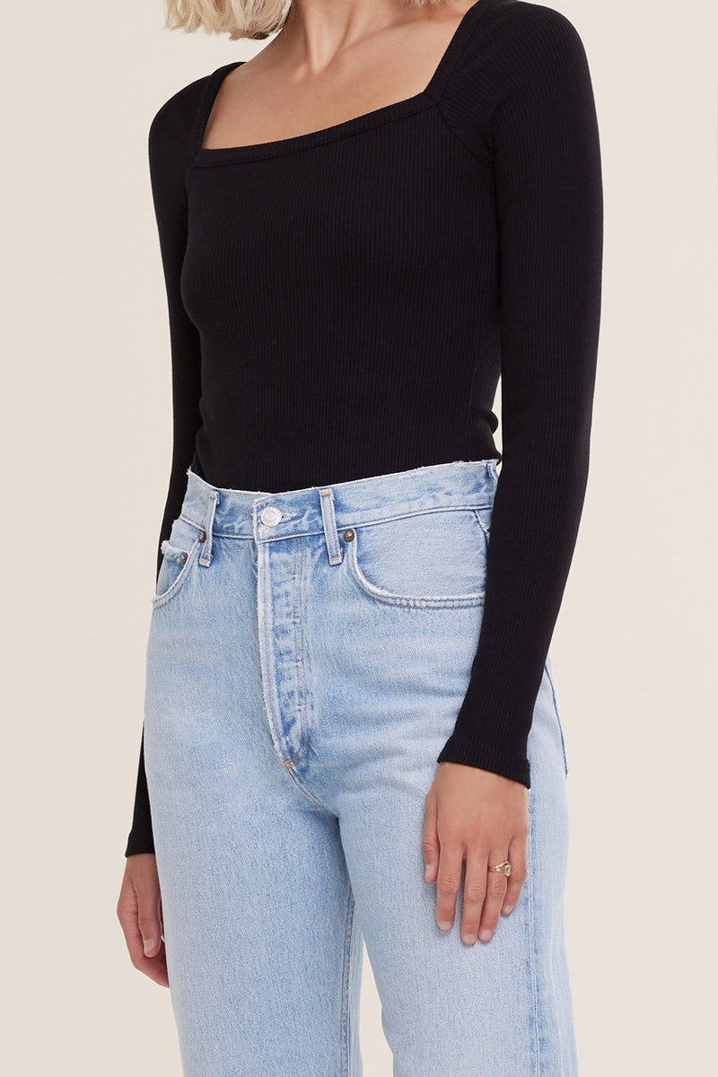 AGOLDE HANLEY SQUARE NECK BODYSUIT IN BLACK