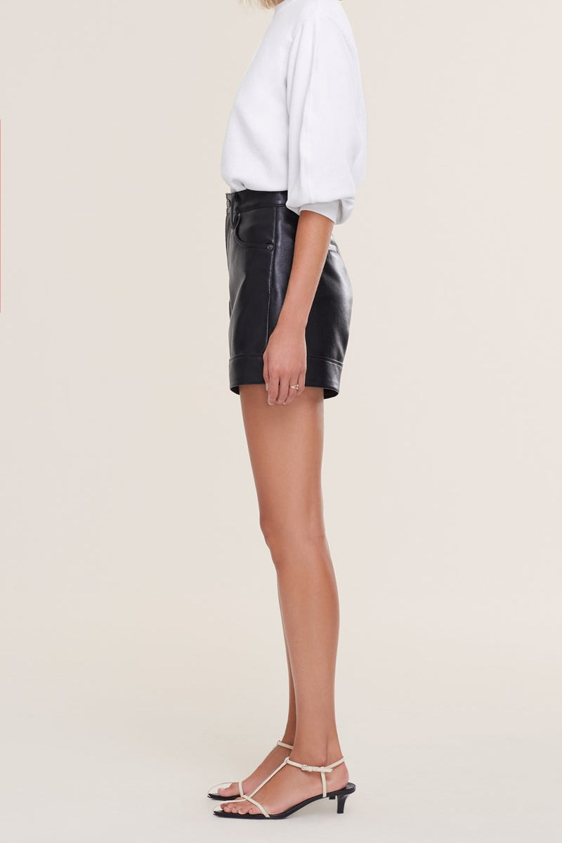 AGOLDE RECYCLED LEATHER SHORT IN DETOX