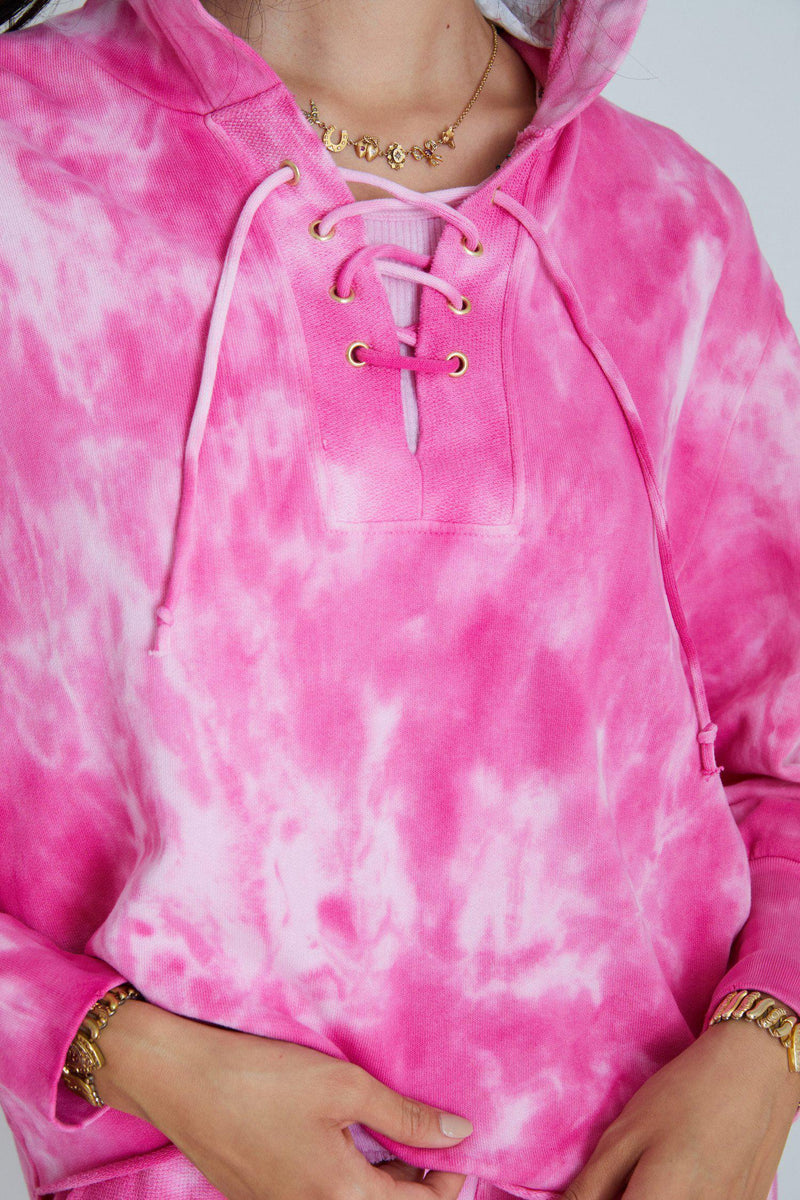 LOVESHACKFANCY BEVAN HOODIE IN BOUGAINVILLEA