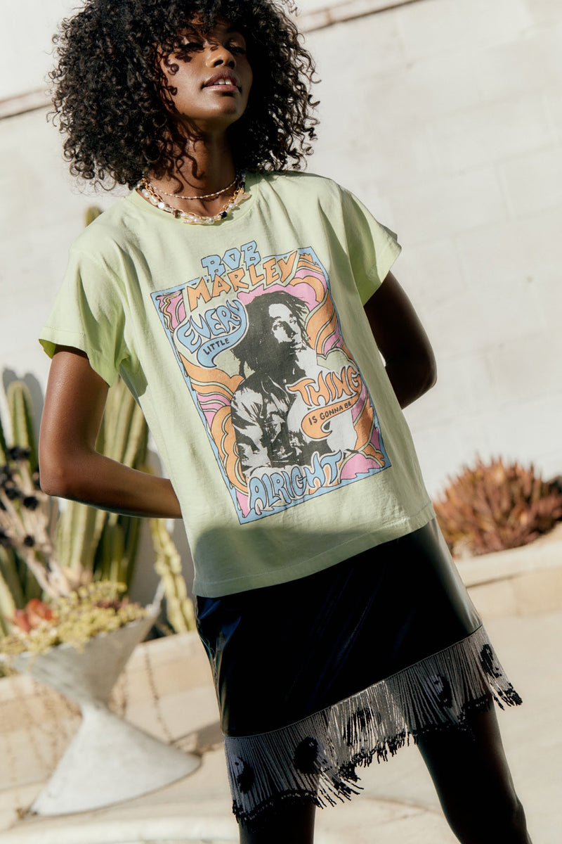 DAYDREAMER BOB MARLEY DON'T WORRY GIRLFRIEND TEE IN ACID YELLOW