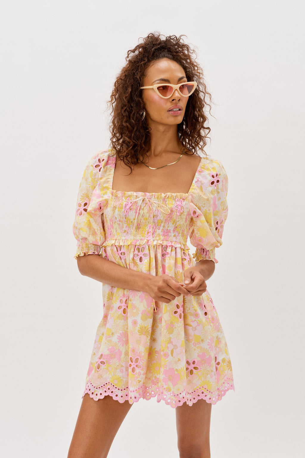 FOR LOVE & LEMONS CLAIRE MINI DRESS IN PINK