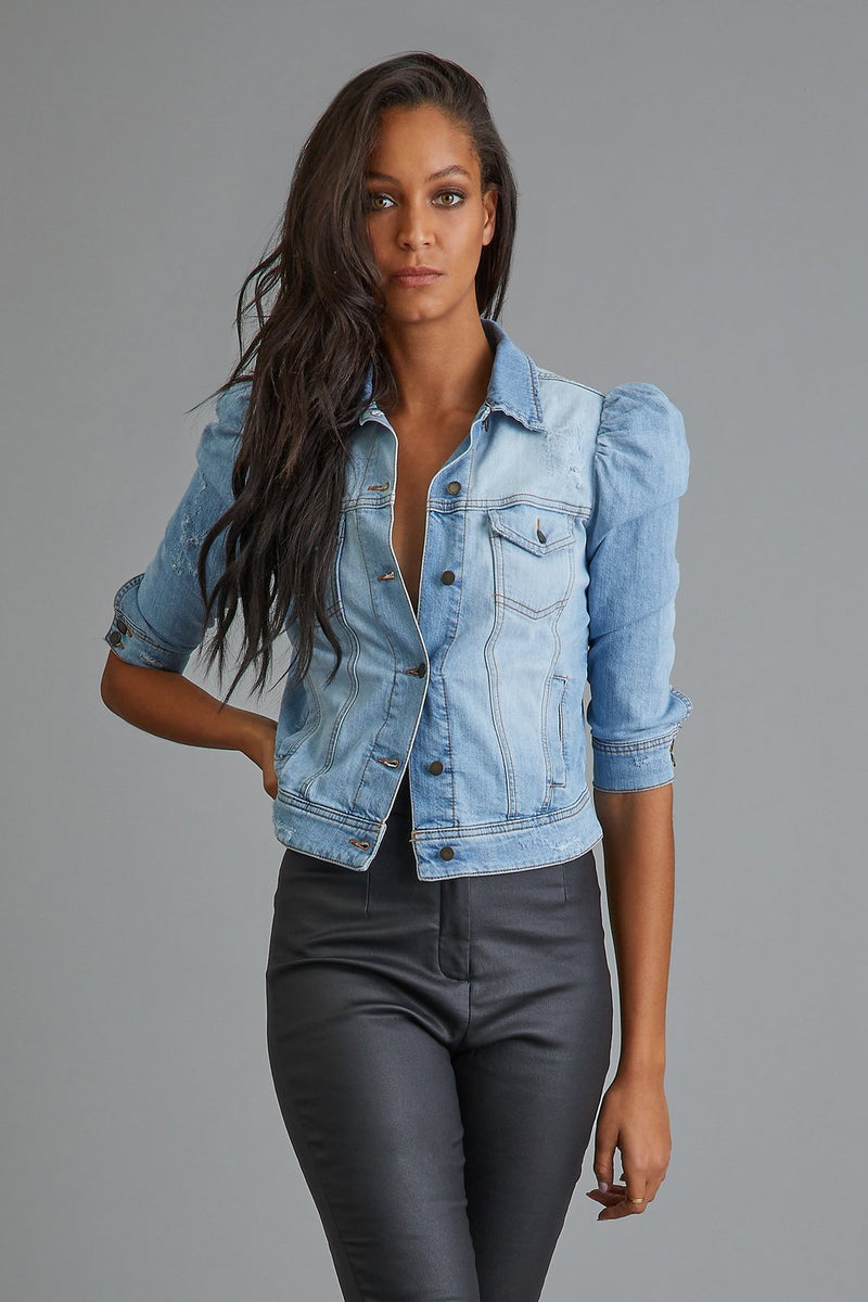 RETROFETE ADA DENIM JACKET IN LIGHT WASH DENIM